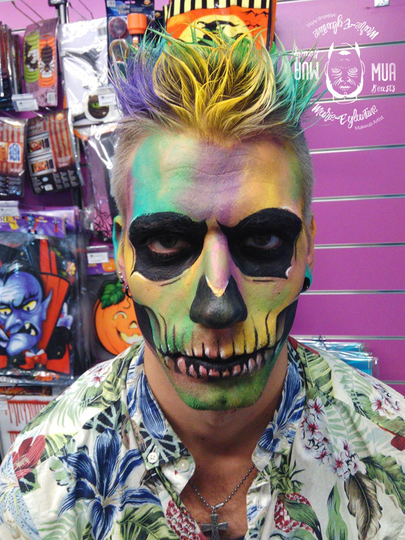 Maquillage Halloween Squelette coloré